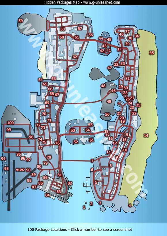 Grand Theft Auto Vice City Hidden Packages Map